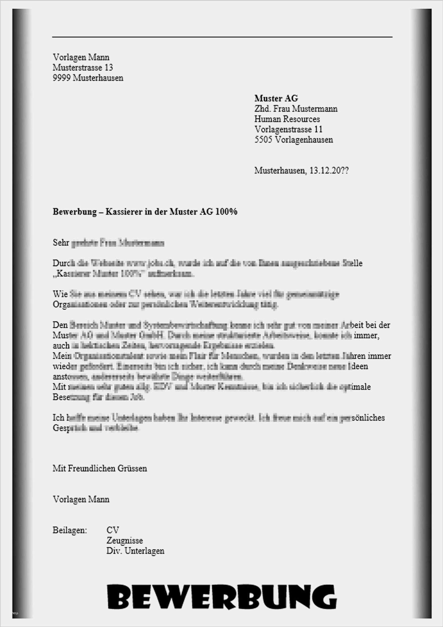 Bewerbung Kassiererin Vorlage Beste 15 Bewerbungsschreiben