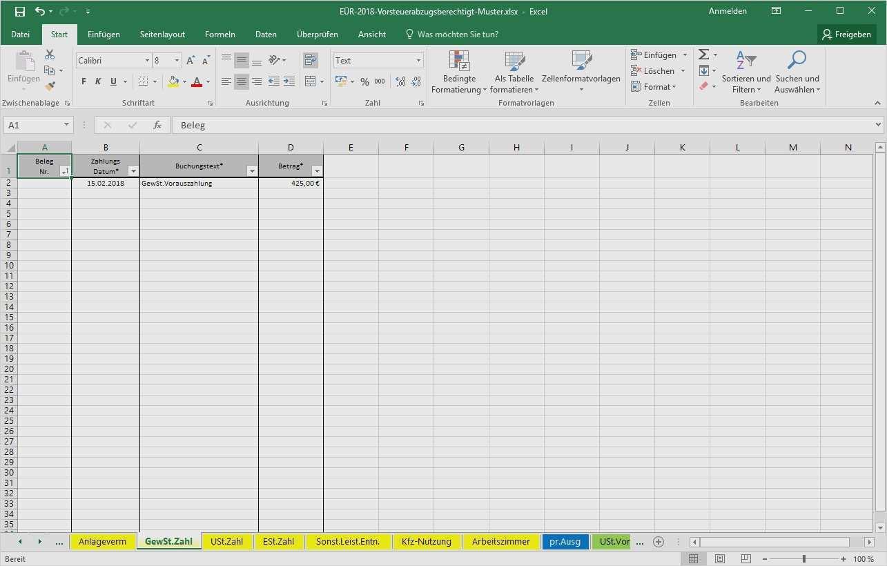 Eür Vorlage Kostenlos Süß Bwa Excel Sheets Vorlagen ...