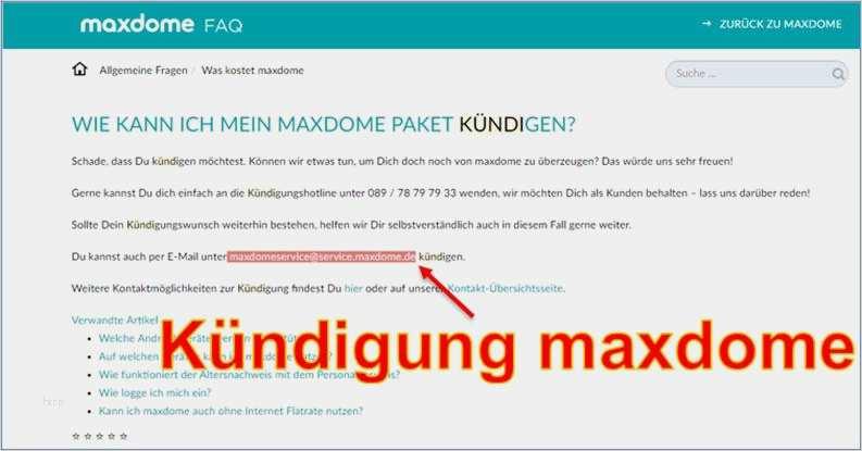 Kündigungsschreiben Maxdome