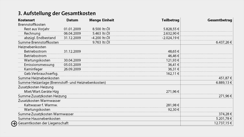 Vorlage Heizkostenabrechnung Excel Wunderbar ista